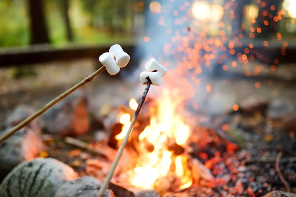 making smores over a campfire
